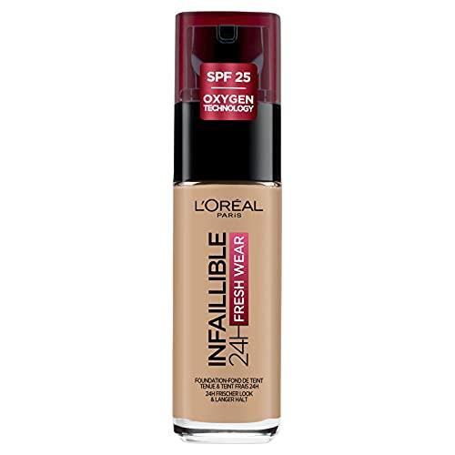 L'Oréal Paris Make up, Wasserfest und langanhaltend, Flüssige Foundation mit LSF 25, Infaillible 24H Fresh Wear Make-up, Nr. 220 Sand, 30 ml