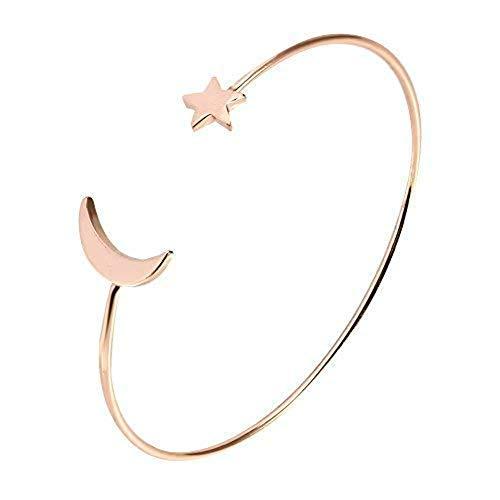 Sonew Bracciale Semplice Bracciale Aperto Tagliato a Braccialetti con Decorazioni a Forma di Stella di Luna per Ragazze.(Oro Rosa)