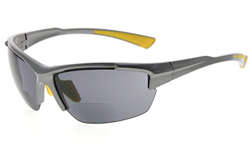 Eyekepper TR90 Sport Halbrandlose Bifokale Sonnenbrille Baseball Laufen Angeln Fahren Golf Softball Wandern Leser (Perliges Grau, 2.00)