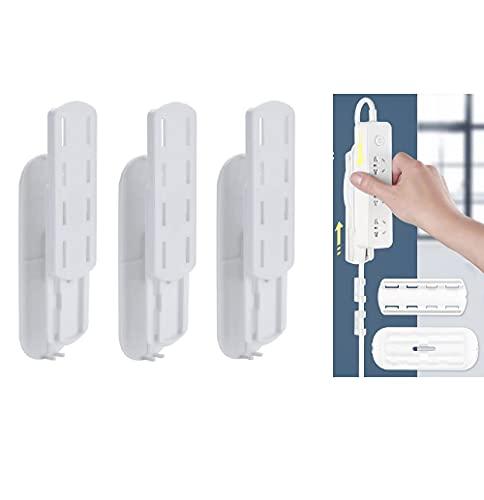 Soporte de cable autoadhesivo de 3 piezas,fijador de enchufes y organizador de gestión de cables,tipo de inserción extraíble,utilizado para escritorio de computadora,pared de TV,cocina,oficina