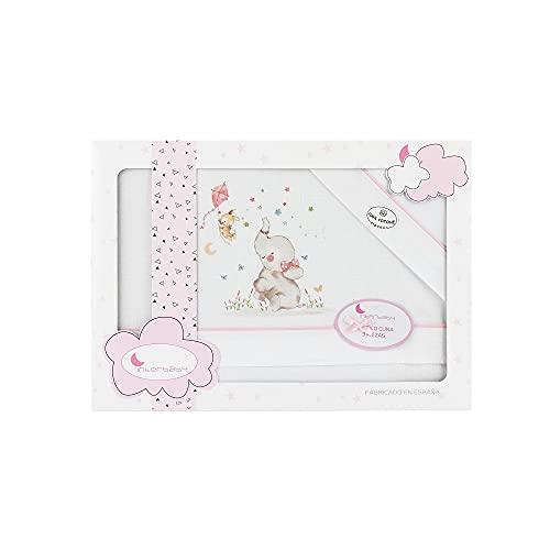 Triptico Sabanas 100% Algodón Minicuna 50X80 - (bajera+encimera+funda almohada) (1 Elefante rosa)