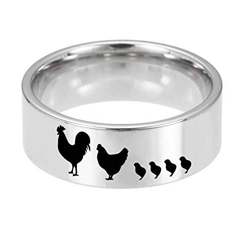 Ring Mannen en Vrouwen Titanium Steel Creatieve Kip Ring Kostuum Accessoires Vakantie Gift Art Deco No11 ZILVER