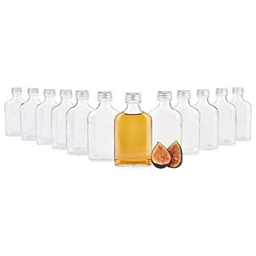 MamboCat 12er Set Taschenflasche 100 ml I Silberne Schraubdeckel I XL-Flachmann I Likörflasche I Schnapsflasche I Fläschchen für Alkohol, Spirituosen, Essig & Öl
