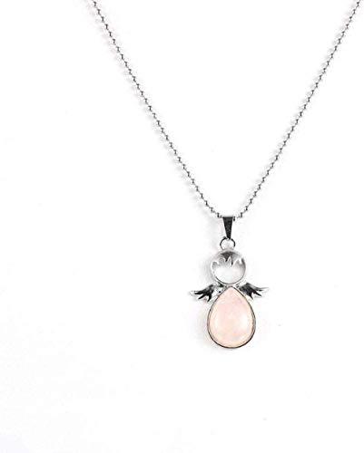 huangshuhua Collares con Colgante de Piedra para Mujer Collar con Colgante de Cristal Rosa de lágrima de Piedra Natural Vintage con ala de ángel con Cadena de Plata Regalo de joyería
