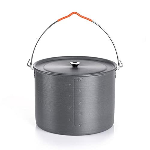 WHL Olla Ligera al Aire Libre Camping Utensilios de Cocina de Campamento portátil Equipos de Equipos de Aluminio y ollas de Camping trípode (tamaño : 10L)