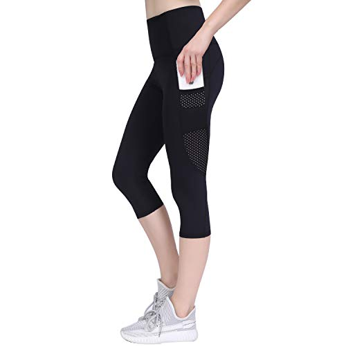 GIEADUN Leggings Mujer 3/4 Pantalones de Yoga Deportivas Leggins para Mujer Yoga Fitness (Negro, Small)