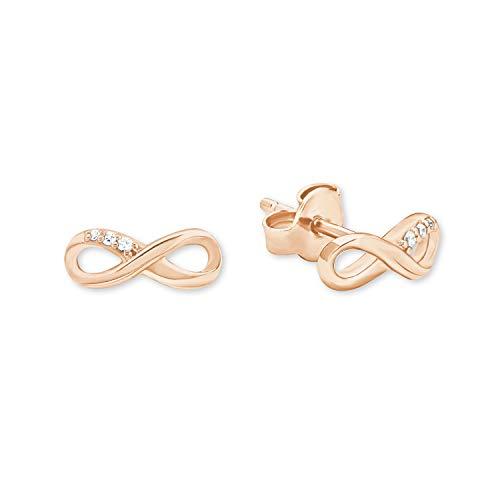 s.Oliver Ohrstecker für Damen Infinity, 925er Sterling Silber rosévergoldet