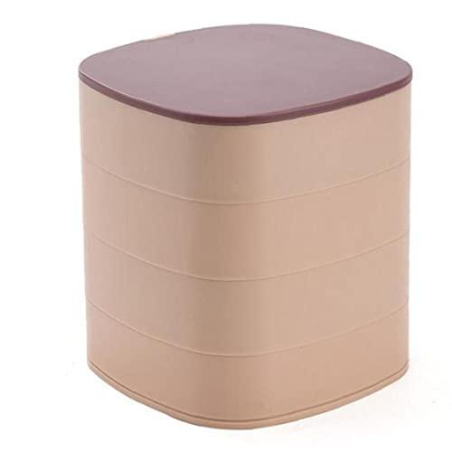 Organizador de la joyería caja de 4 capas 360 ° del caso del almacenaje de la joyería con el espejo giratorio rosa púrpura, joyería de la caja