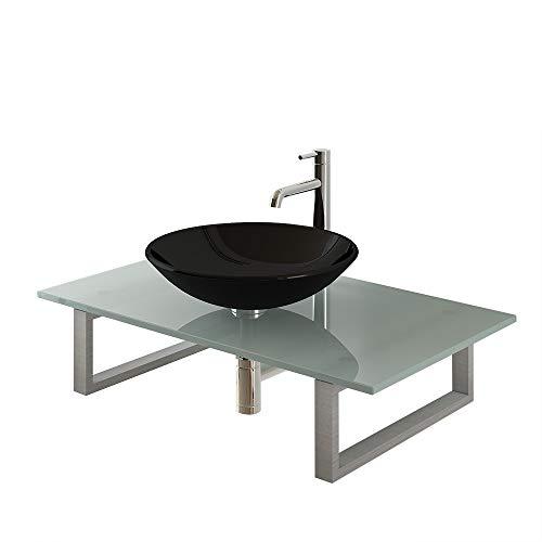 Alpenberger hoogwaardige glazen wasbak, zwart, Ø 46 cm, van gehard veiligheidsglas, incl. roestvrij stalen console en melkglasplaat 90 cm, modern opzetwastafelblad voor je badkamer