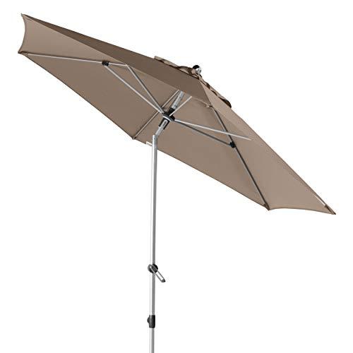 Doppler EXPERT Auto Tilt 280 – Knickbarer Sonnenschirm für Balkon oder Terrasse – Regenabweisend – ca. 280 cm – Greige