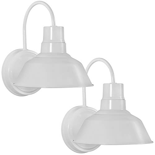 White Gooseneck LED Wall Sconce Barn Light Fixture - Industrial Antique Farmhouse Style - Vintage Patio Porch Wall Mount Light - Indoor/Outdoor - UL Listed - 9W 800lm Cool White (2PCK)