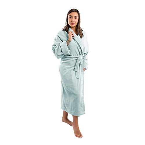 Clarysse Bademantel Damen Frottee Bio Baumwolle, Morgenmantel für Damen und Herren mit Schalkragen aus feinster Velours Hotelqualität, Größe M-L, hell blau