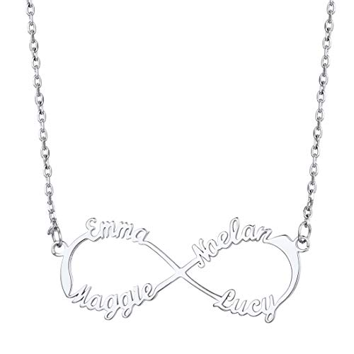 U7 Custom Name Necklace for Women Girls Platinum Plated Monogram Choker Collar Personalized Necklaces with Names, Infinity Necklace