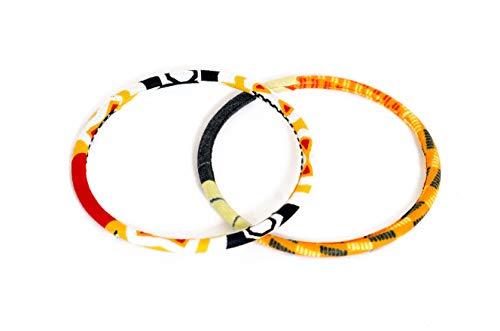 Juego de 2 pulseras de tela 100% Wax fabricadas en Francia de tipo africano. Color amarillo negro y rojo. Joya colorida elegante hecha a mano. Idea de regalo original para mujer. Tienda Mansaya Paris.