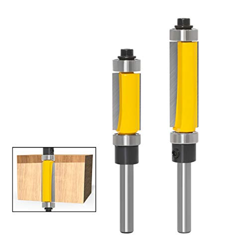 Meihejia 1/4 Inch Shank Pattern Flush Trim Router Bit Set with Top and Bottom Bearing - 2 Sizes