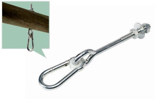 Schaukelhaken Gewinde M12 Bolzen Länge von 140 mm für Pfosten / Kopfbalken von 120 mm (12 cm)