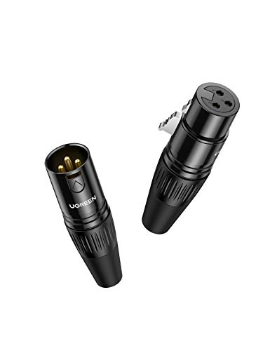 UGREEN XLR Adapter 3 Polig XLR Stecker auf Klinkenbuchse und XLR Buchse auf Klinkenbuchse Mikrofonadapter für Camcorder, Mischpult, Mixer, Tonverstärker, Phantomspeisung - 2 Stücke