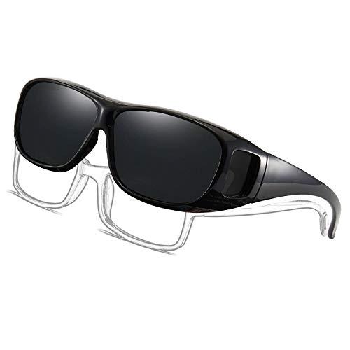 Perfectmiaoxuan Gafas de Sol Polarizadas para llevamos gafas graduadas para hombre mujere/Gafas de sol cubren gafas graduadas Excelentes para Ciclismo Pescar y Conducir (black A, 68)