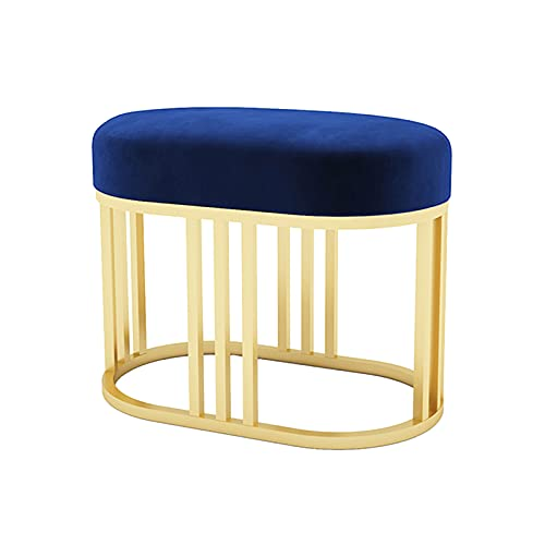 PYapron Small Footstool Ottoman Footrest Modern Home Living Room Bedroom Rectangular Stool with Padded Seat, Makeup Stool for Vanity, Plush Square Footrest for Bedroom, Bathroom,Blue