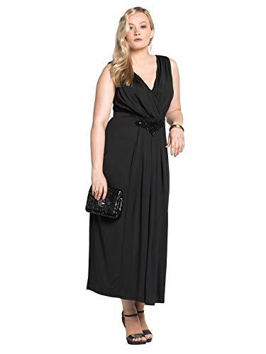 Sheego Damen Abendkleid mit eleganter Stickerei schwarz, 52