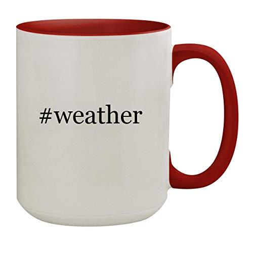 #weather - 15oz Hashtag Colored Inner & Handle Ceramic Coffee Mug, Red