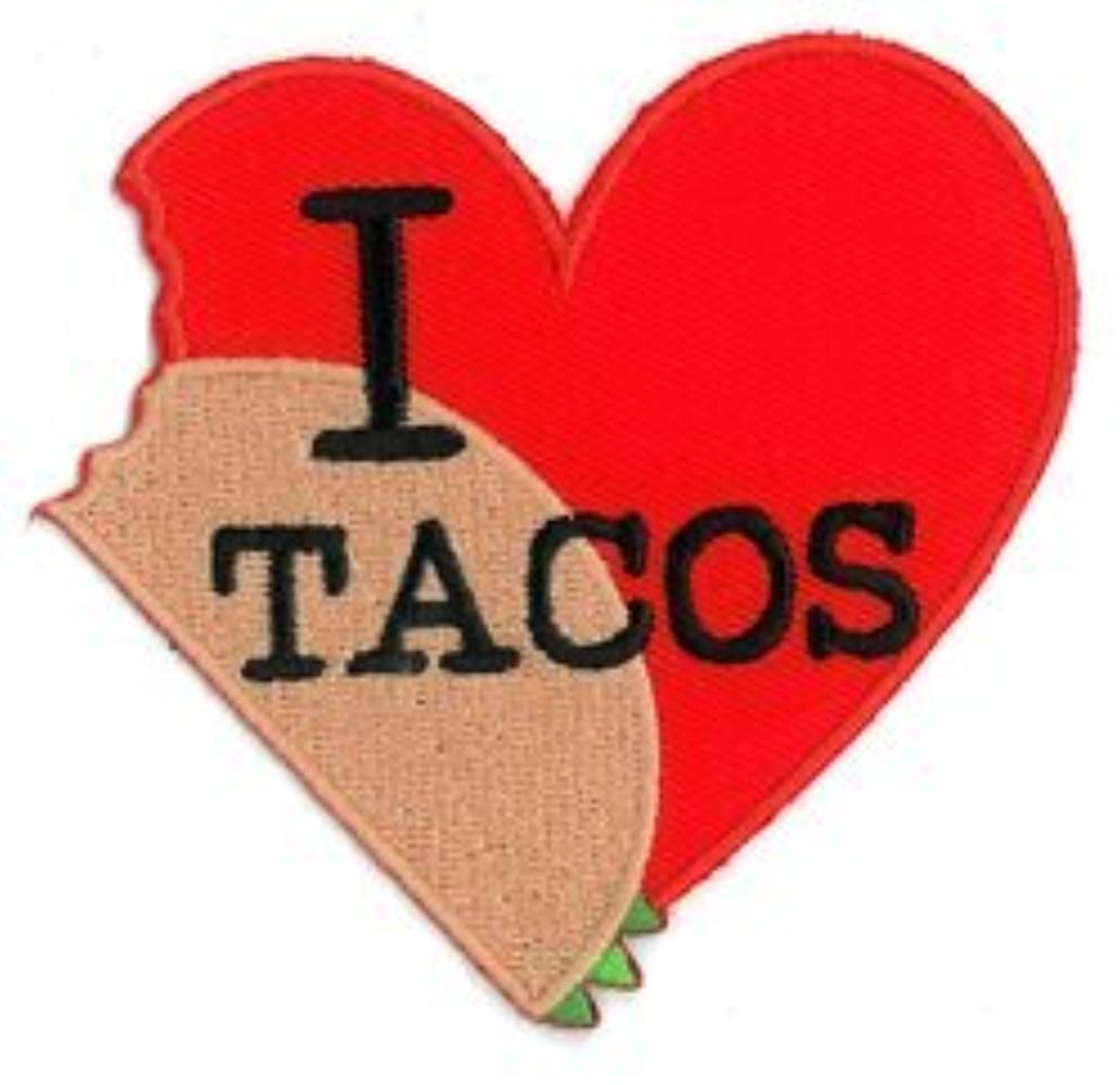Evilkid I Heart Tacos PATCH, Iron-On / Saw-On, Carded & Packaged Individually - 3.25