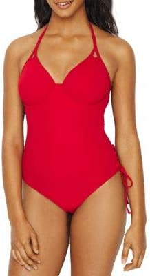 Miss Mandalay Icon Plunge High Luxury quality new 30FF Ruby Red One-Piece