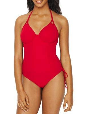 Miss Mandalay Icon Plunge One-Piece, 34F, Ruby Red
