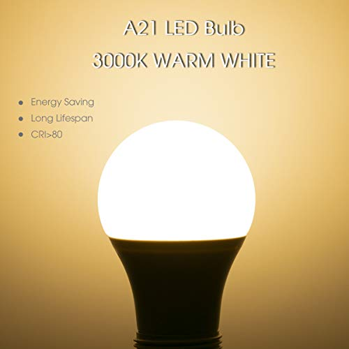 LOHAS A21 LED Light Bulb 17W, 150W Equivalent, E12 Medium Base, Soft White 3000K, Super Bright 1750LM LED Bulb, UL Listed, Hight Brightness for Kitchen, Garage, Warehouse, 4 Pack