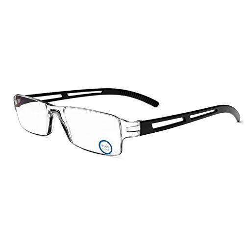 Rahmenlose Lesebrille Sehhilfe mit Blaulichtflilter Anti Blaulicht Lesehilfe für Damen und Herren(Schwarz,+2.0)