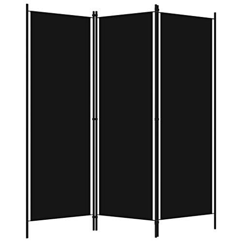 Irfora Paravent Raumteiler 3 Teilig Trennwand Stellwand Klappbar Faltbar Sichtschutz Innen Wohnzimmer Schlafzimmer Ankleidebereich Balkon, Stoff 150x180 cm Schwarz