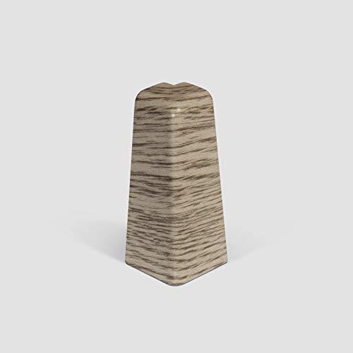 EGGER Außenecke Sockelleiste Eiche graubraun für einfache Montage von 60mm Laminat Fußleisten | Inhalt 2 Stück | Kunststoff robust | Holz Optik grau braun