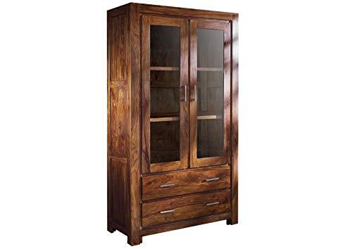MASSIVMOEBEL24.DE Massivmöbel Sheesham Holz massiv Life Honey Vitrine Massivholz Palisander lackiert Möbel Metro Life #101