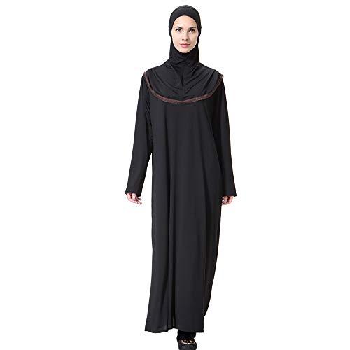 Lazzboy Muslim Lady Daily Feste Langarm Lange Vintage Kleider Robe Frauen Einfarbig Kleid Moslemische Kopfbedeckungen Moschee Fledermaus ärmel Strickjacke Ramadan(Kaffee,XL)