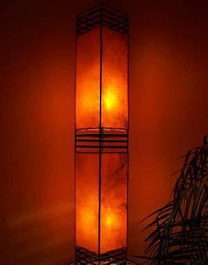 Orientalische Stehlampe Koutoubia orange 120cm Lederlampe Hennalampe Lampe | Marokkanische Design Stehlampen aus Metall, Lampenschirm aus Leder | Orientalische Dekoration aus Marokko, Farbe Orange