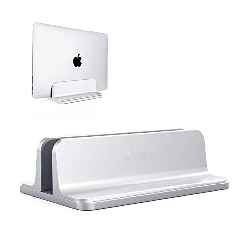 ORANGEHOME Adjustable Vertical Laptop Stand,Aluminum Desktop Space-Saving Stand Holder with Adjustable Dock Size Fits All Notebooks MacBook Surface Chromebook iPad iPhone - Silver