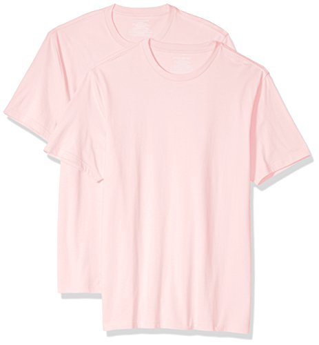 Amazon Essentials Men's 2-Pack Slim-Fit Short-Sleeve Crewneck T-Shirt, Light Pink, Large