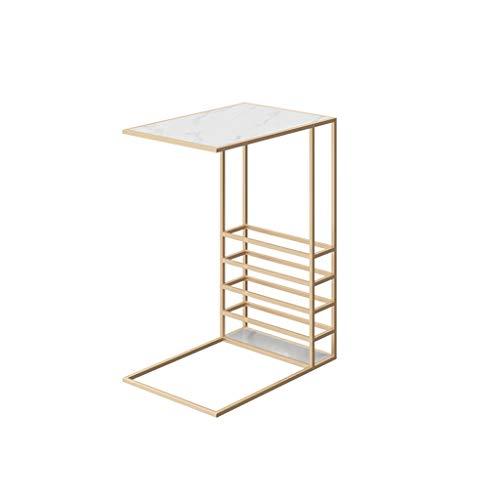 YAQ-Muebles de oficina C-sofá en forma de tabla, Mármol textura del metal de Mesa Inicio del escritorio de oficina Snack-Sala de estar Sofá laterales de la parrilla de escritorio del ordenador portáti