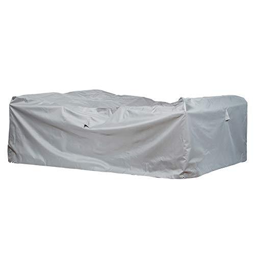 Mehr Garten Gartenmöbel Abdeckung rechteckig, Premium Schutzhülle Abdeckplane für Lounge-Gruppe Loungemöbel wasserdicht 300 x 300 x 80 cm Lichtgrau