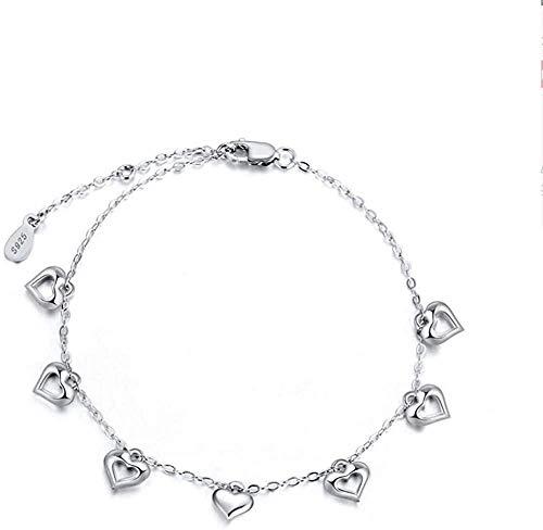 NC83 Pulsera de plata Pulseras de mujer en forma de corazón Chicas muy pulidas aman la boda Regalos de joyería de plata