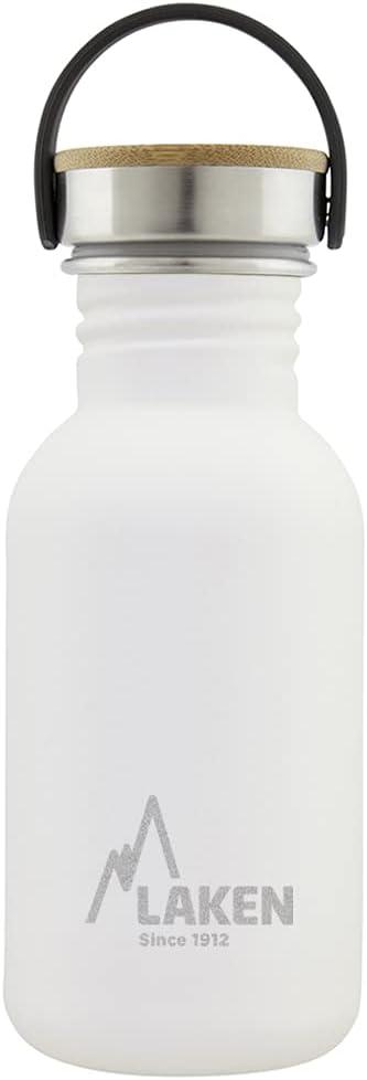 Laken Botella de Acero Inoxidable con Tapón de Rosca Acero y Bamboo y Boca Ancha 0,35-1L
