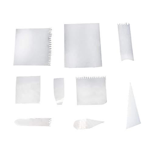 JIHUOO 18 piezas transparente flexible pastel crema raspador glaseado más suave espátulas de pastelería raspador de decoración de pasteles suministros de cocina herramientas para hornear