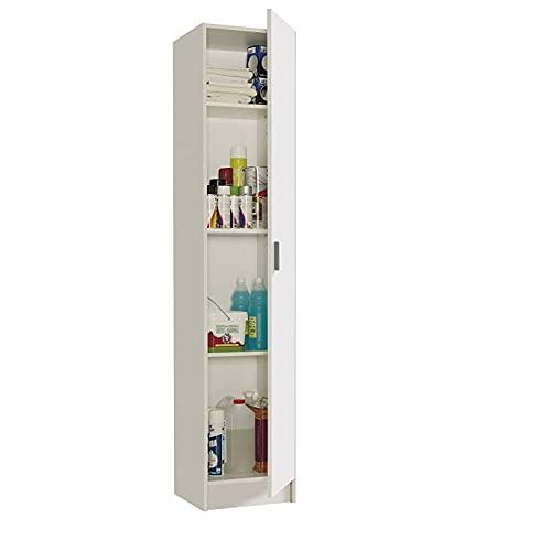 Mediawave Store - Mueble de columna 240787 - Armario multiusos con 1 puerta de madera blanca, mueble para la casa, la cocina, el baño, la lavandería, ahorra espacio 37 x 37 x 180 cm