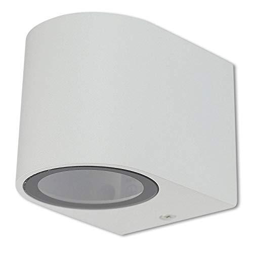 LED Wandleuchte Außen weiß rund1,2 Watt warmweiß – IP44 Up oder Down Außen-Leuchte aus Aluminium 150x92x68mm – GU10 Außenstrahler Garten-Lampe