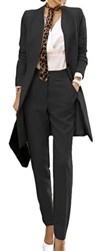 Scothen Damen Business Hosenanzuge Slim Fit Blazer Reverskragen Karriere Hosen Anzug Set Sakko Kurzjacke Eleganter Damen Blazer Blazer Baumwolle Jäckchen Freizeit Party Jacke
