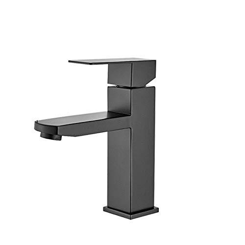 Grifo de baño Grifo de lavabo Negro mate Instalación de la plataforma sola manija Columna cuenca del martillo de agua del grifo del fregadero agua fría y caliente baño grifo-Short ( Color : Short )