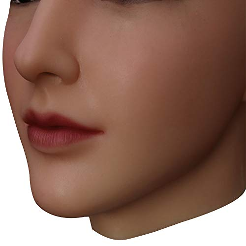 U-CHARMMORE Medical Silikon Beauty Beadpiece mit realistischem Kopf- und Gesichts-Make-up für Crossdresser Transvestite Halloween Drag Queen (Farbe 3 Braun)