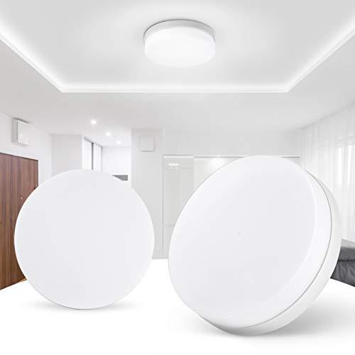 Panel de iluminación LED de 24W, luz descendente de techo redonda para dormitorio moderno, lámpara de techo montada en superficie blanca de luz diurna de 1920Lm 6500K, AC85-265V,White-1 Pack