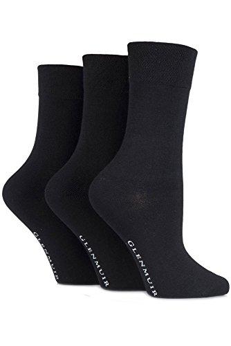 Glenmuir Ladies 3 Paar Comfort Cuff Plain Bamboo Socken 4-8 Damen schwarz