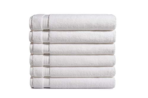 AmazonCommercial 100% Premium Cotton Bath Towel Set - Pack of 6, 27 x 54 Inches, 650 GSM, White